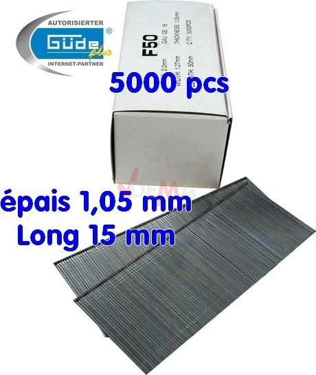 Pointes à tête cloueur 15 mm - pour cloueuse G40212 G40402 G40220