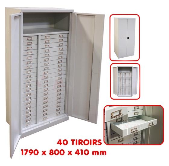 Armoire grise de rangement par tiroirs mobilier d 39 atelier - Armoire de rangement atelier ...
