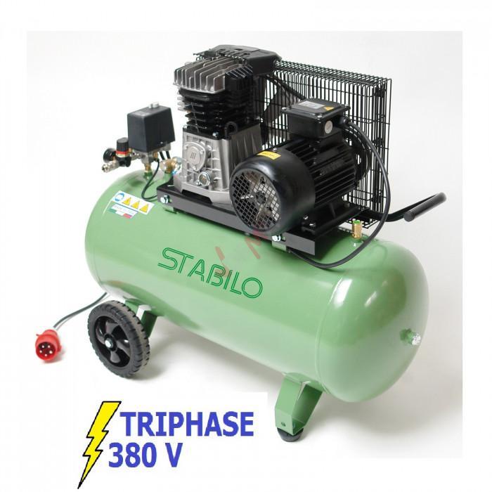 Compresseur bi-cylindre 400 V - cuve 100 L - 500/10/100