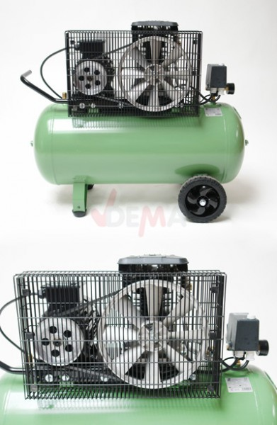 Compresseur bi-cylindre 400 V - cuve 100 L - régulateur de pression