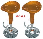 Tabouret de bar pivotant 360° vérin pneumatique - orange - lot de 2