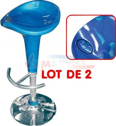 Tabouret pivotant 360° - de bar - Lot de 2 - bleu