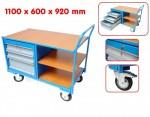 Chariot de manutention avec 3 tiroirs - étagères et plan de travail