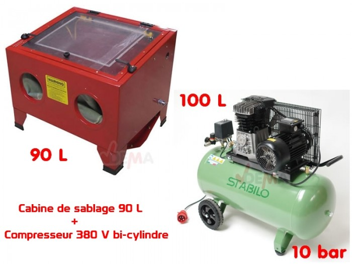 Set cabine de sablage 90 l compresseur bi cylindre 380 - Compresseur pour sablage ...