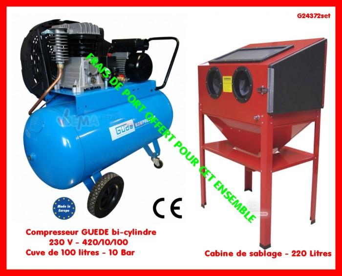 Set compresseur g de bi cylindre 230 v cabine de - Compresseur pour sablage ...