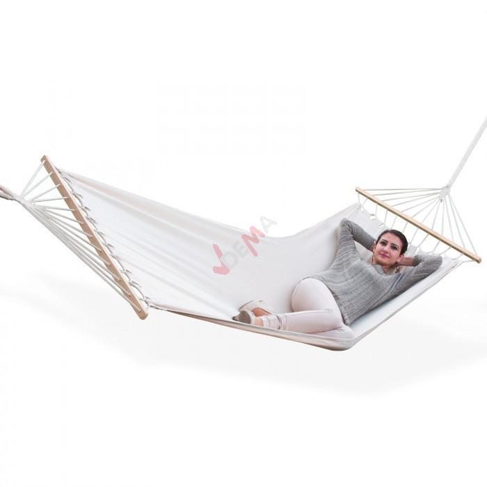 Hamac blanc écru 180x100cm coton à barres bois 120 kg jardin vacances
