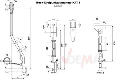 Fixation agricole 3 points pour petits tracteurs Kat I - complet