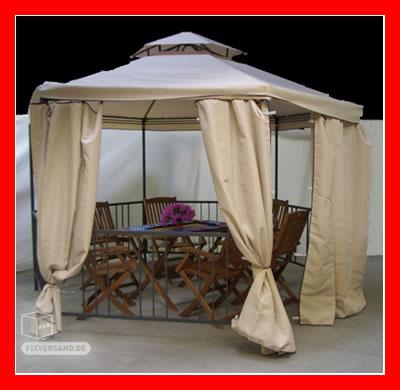 Pavillon romantique tissu et métal 2700 x 3470 mm