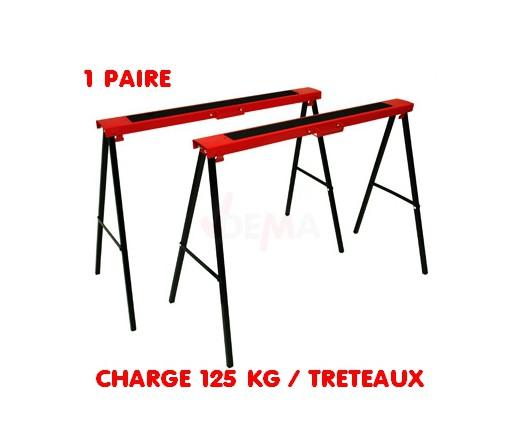 Paire tréteaux métalliques pliants KB250 charge 150 kg par tréteau