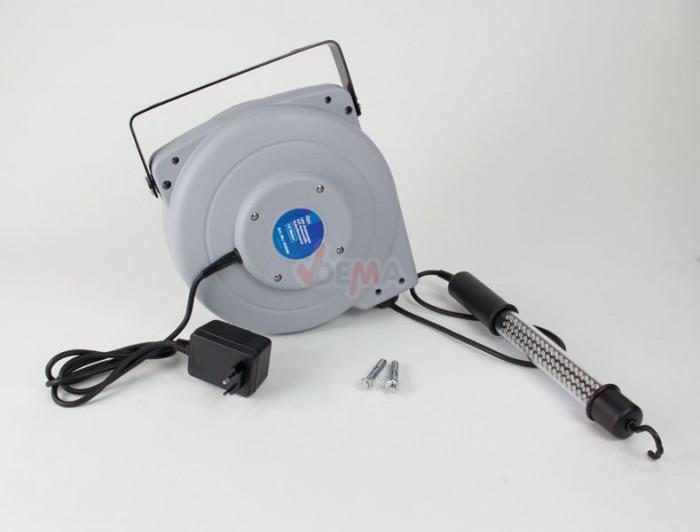 Enrouleur câble électrique 15 m avec lampe baladeuse LED