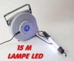 Enrouleur câble électrique 15 m avec lampe LED montage mural ou plafon