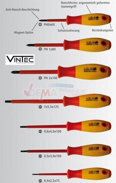 Lot de 7 tournevis isolés antidérapant VDE - VINTEC