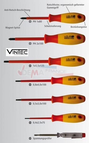 Lot de 7 tournevis + 1 testeur isolés VDE 7S - VINTEC