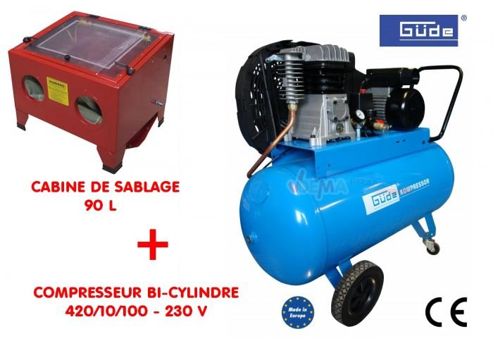 Cabine de sablage 90 l compresseur bi cylindre 230 v - Compresseur pour sablage ...