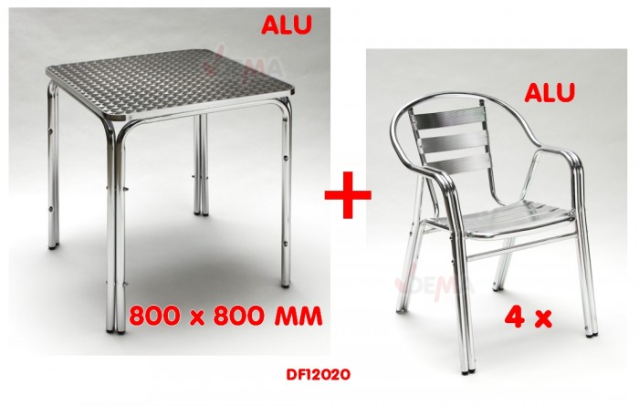 salon de jardin aluminium table carr e 80cm 4 chaises alu. Black Bedroom Furniture Sets. Home Design Ideas