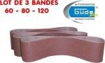 Bandes abrasives grain 60 80 120 pour ponceuse à bande lot de 3