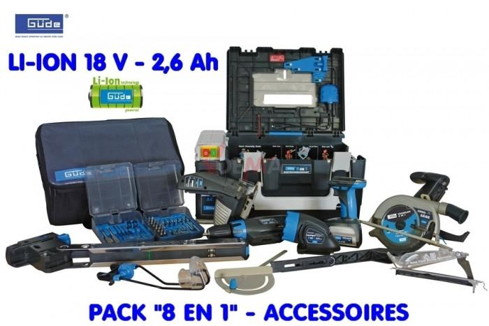 "GÜDE -  Set pack ""8 en1""+ accu + chariot de transport"