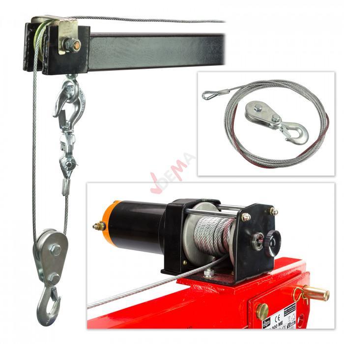 Grue Hayon pick-up + treuil électrique 300 kg 12 V flèche 900-1450 mm