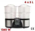 Cuiseur vapeur double - 4 x 3 L - 1360 W