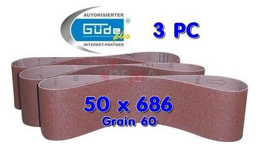 Bande abrasives 50 X 686 grain 60 pour ponceuse à bande lot de 3