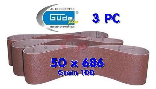 Bandes abrasives 50 X 686 grain K100 pour ponceuse à bande lot de 3