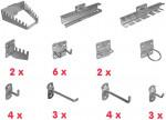 Crochet - Lot d'accessoires pour panneau à perforations carrées