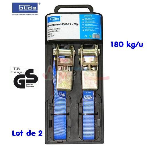 GÜDE -  Lot de 2 sangles arrimage - 180 kg/U Normes TÜV et GS