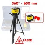 Niveau laser rotatif 360° - 650 nm - Laser classe 2 - avec trépied