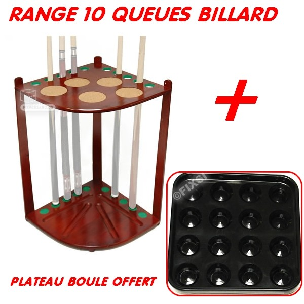 Range queue de billard 10 queues plateau boule offert for Dimension queue de billard