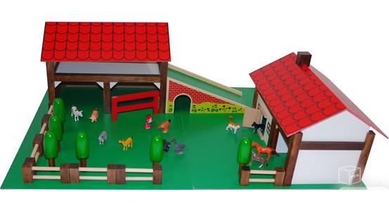 Grande ferme bois et plastique avec animaux et accessoires