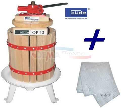 GÜDE - Pressoir à fruits + baies - 12 L + 1 toile filtre offerte