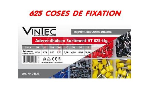 Assortiment cosses de fixation - 625 pc - VINTEC