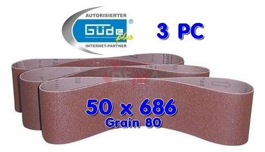 Bandes abrasives 50 X 686 grain 80 pour ponceuse G55108 - lot de 3