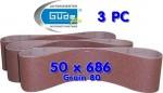 Bandes abrasives 50 X 686 grain 80 pour ponceuse à bande lot de 3