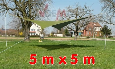 Parasol auvent 5 x 5 m VERT toile cousue polyéthylène jardin extérieur