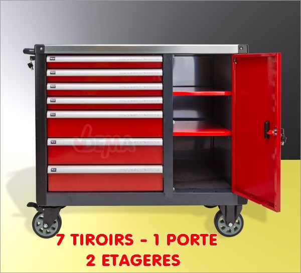 servante mobile 7 tiroirs porte equipement atelier. Black Bedroom Furniture Sets. Home Design Ideas