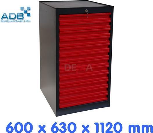 Armoire Servante Rouge/Noire 12 tiroirs 600 x 630 x