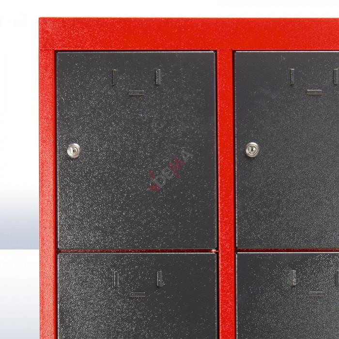 Armoire 15 casiers vestiaire atelier 880 x 500 x 1800 mm - rouge/gris