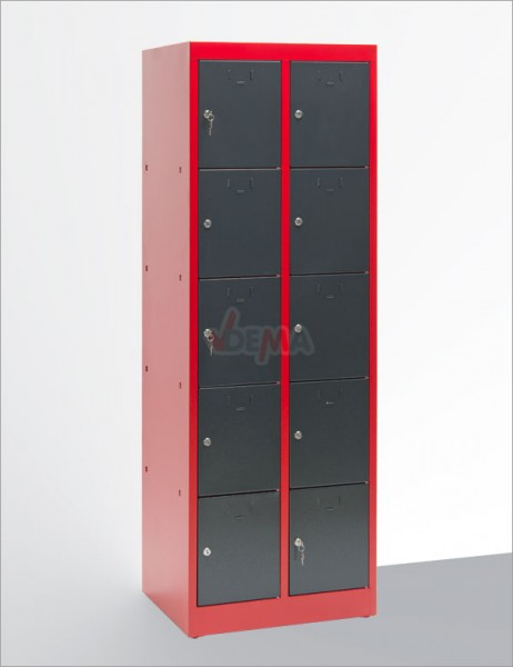 armoire 10 casiers vestiaires collectivit s atelier rouge gris mobilier d 39 atelier. Black Bedroom Furniture Sets. Home Design Ideas