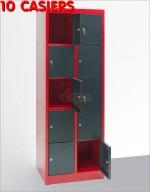 Armoire 10 casiers vestiaires collectivités atelier rouge/gris