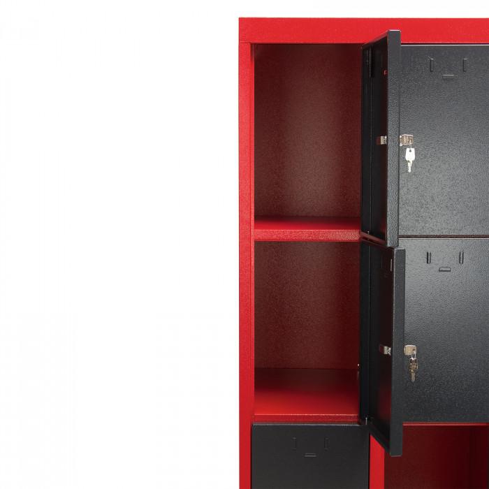 Armoire 12 casiers - collectivités - atelier - école -Rouge/Gris