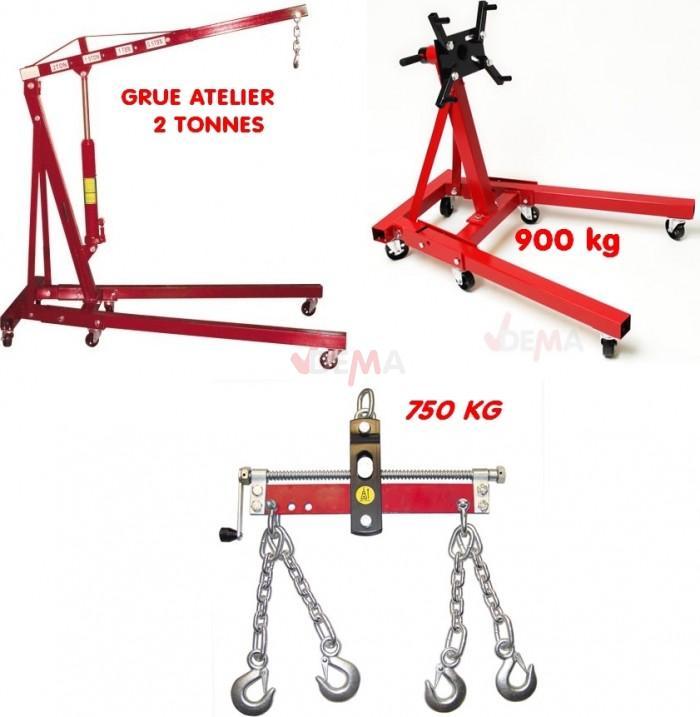 Set - Grue 2 T + Balancier 750 Kg + Support Moteur 900 kg