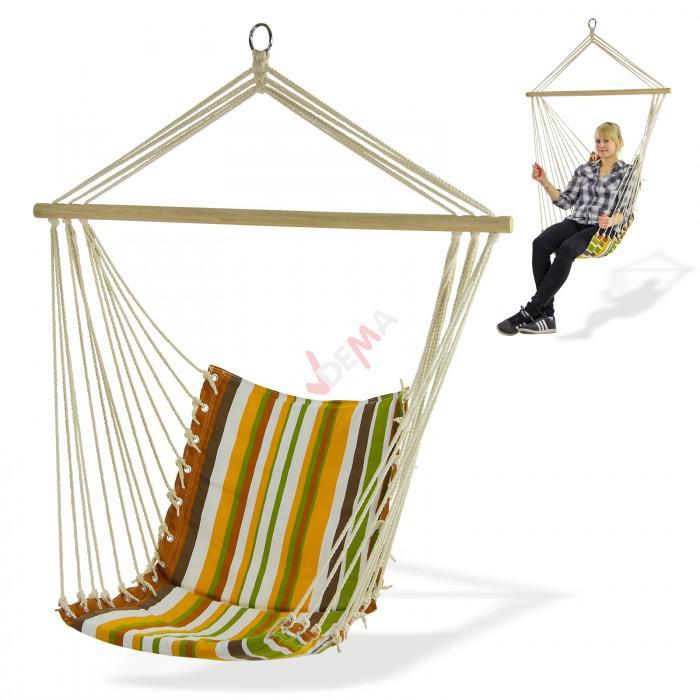 Siège hamac suspendu charge 120 kg - bois naturel assise coton et lin