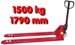 Transpalette cric rouleur atelier fourches longues 1790 mm 1,5 T