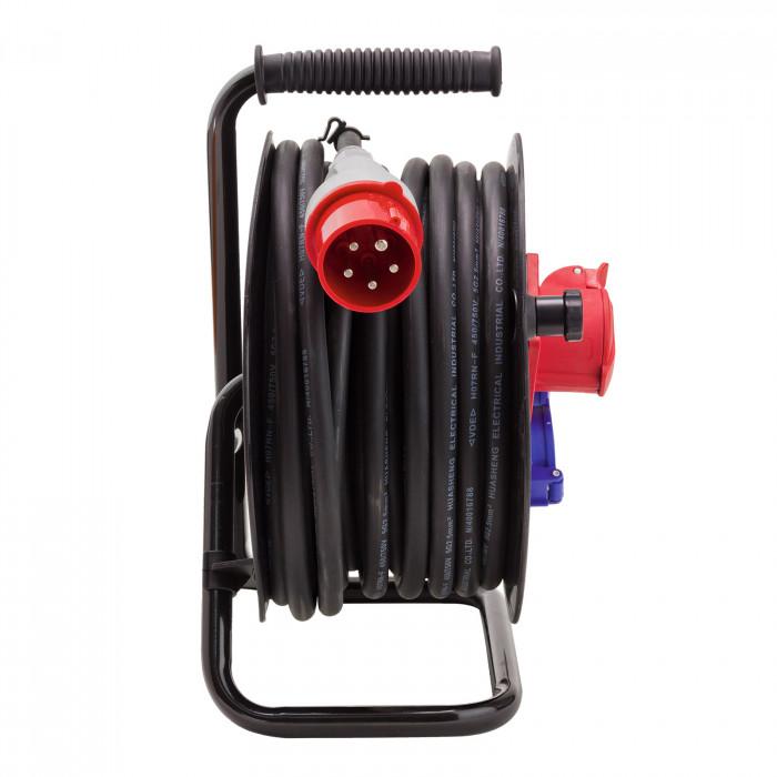 Enrouleur câble éléctrique 25 m H07RN-F 5x2,5 mm2 Ø extérieur 14,5 mm