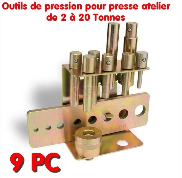Outils de pression pour presse d'atelier 2 à 20T - 9 pièces