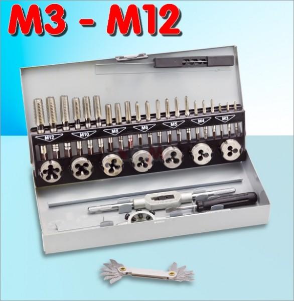Set 33 pc de tarauds M3 à M12 - Acier HSS qualité parfaite