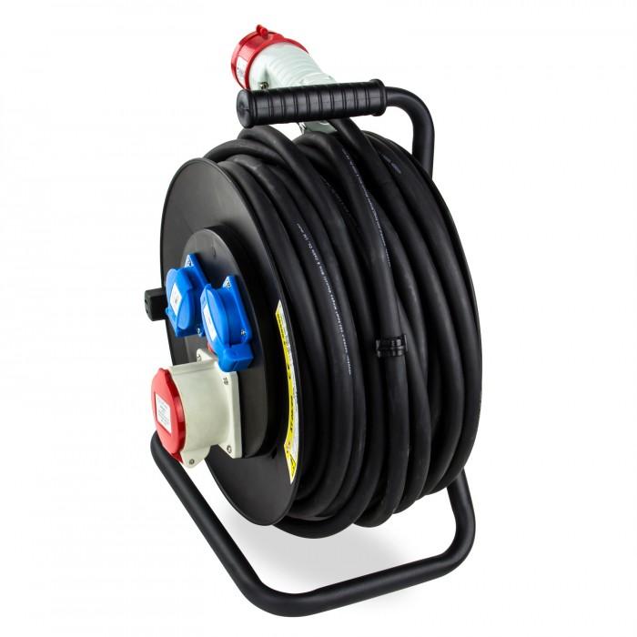 Enrouleur câble éléctrique 25m H05RRF 5×2,5 mm2  25 m  ~ Enrouleur Cable Bois