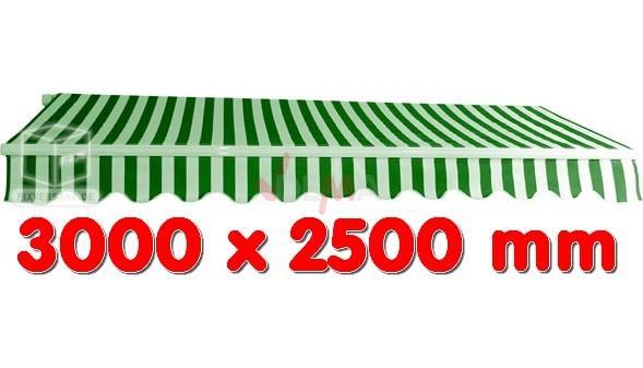 Marquise extérieure verte - auvent 3 x 2,5 m - Alu et tissu hydrofuge