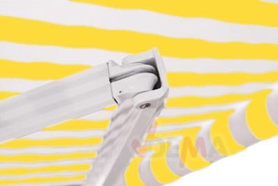 Marquise extérieure jaune - auvent 3 x 2,5 m - Alu et tissu hydrofuge
